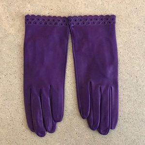Italian Purple Leather Gloves
